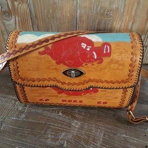Vintage Arkansas Razorback Tooled Leather Purse